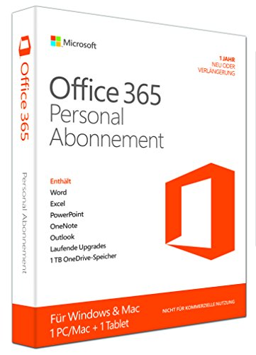 Microsoft Office 365 Personal - 1 PC/MAC - 1 Jahresabonnement - multilingual (Product Key Card ohne Datenträger) [import allemand] de Microsoft