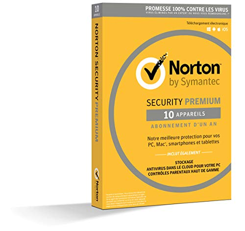 Norton Security Premium 2019 | 10 Appareils | 1 an | PC/Mac/iOS/Android | Téléchargement de Symantec
