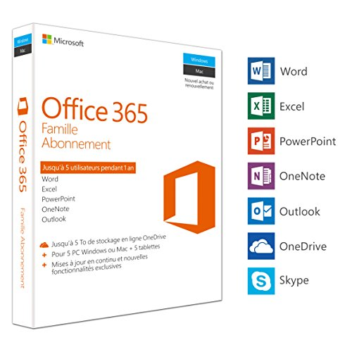 Microsoft Office 365 Famille | 5 PC Windows ou Mac + 5 tablettes | 1 an | Box de Microsoft
