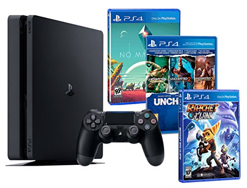 Playstation 4 PS4 Slim 1To PACK FAMILLE plus 5 jeux! Ratchet & Clank + Uncharted Collection (3 in 1) + No Man's Sky de Sony