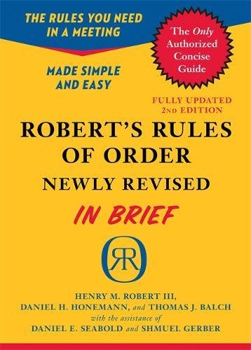 Robert's Rules of Order Newly Revised In Brief, 2nd edition de Brand: Da Capo Press