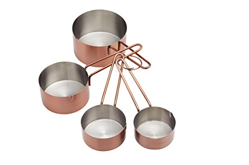 KitchenCraft Lot de 4 tasses à mesurer en acier inoxydable finition cuivre de Kitchen Craft
