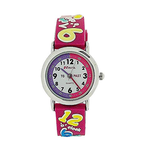 Ravel Time Teacher Girls 3D Know Your Numbers Rubber Watch +Telling Time Award de Ravel