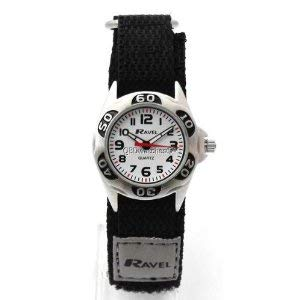Ravel Analogue Boys Black & Grey Fabric Easy Fasten Strap Watch R1507.29 de Ravel