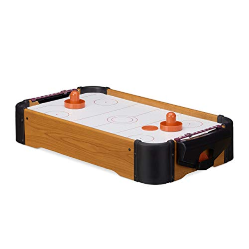Relaxdays Hockey de table Air Hockey de table Mini Hockey emporter accessoires lxP: 56 x 31 cm, brun de Relaxdays