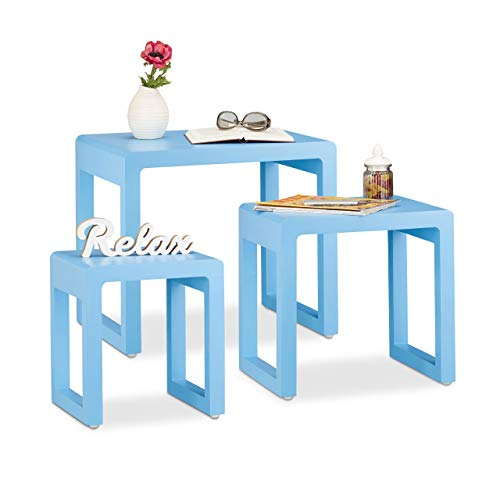 Relaxdays Tables gigognes Set de 3 Cette Table Basse Table empilable Bois laqué, Table d'appoint Moderne rétro, Bleu de Relaxdays
