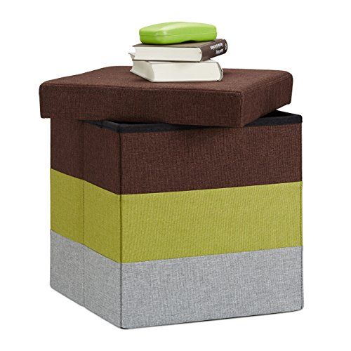 Relaxdays 10022866_470 Tabouret Cube carré Pliant Coffre de Rangement Pliable Pouf rayé Tricolore HxlxP: 38 x 38 x 38 cm, coloré, Brown-Green-Grey de Relaxdays
