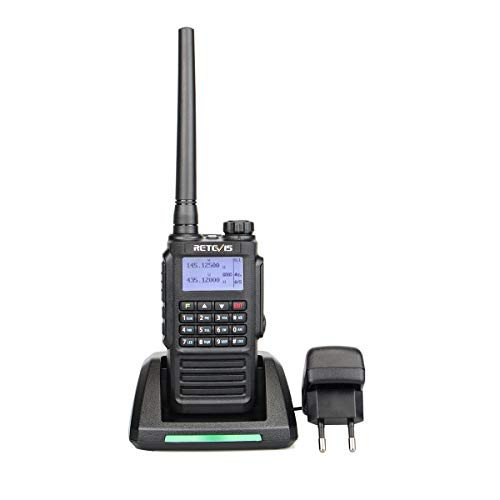 Retevis RT87 Talkie Walkies Étanche IP67 Radio UHF VHF Double Bande 136-174MHz 400-480MHz Batterie Rechargeable 1200mAh 128 Canaux CTCSS/DCS VOX Alarme PTT ID MSK/DTMF/2T/5T Scrambler Radio FM Écran LCD Cable de Programmation (Noir, 1 pcs) de Retevis