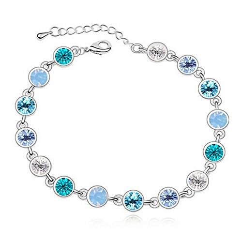 Rizilia Adjustable Bracelet de Tennis & Coupe de Rond Crystal [Saphir Bleu simulé] en Or Blanc plaqué,Simple Moderne élégant de Rizilia