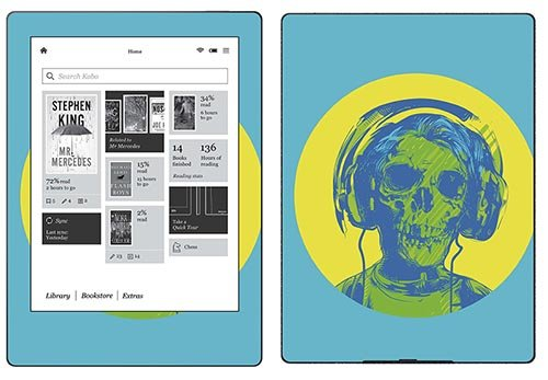Royal Sticker RS.116804 Autocollant pour Kobo Aura H2O Motif Skull With Headphones de Royalsticker