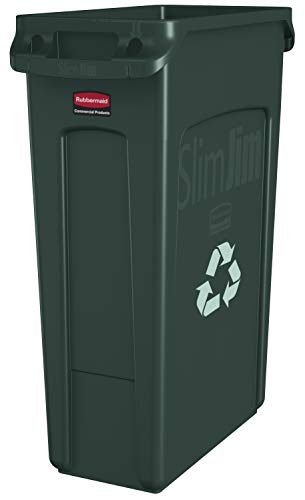Rubbermaid FG354007GRN Commercial Vented Slim Jim Recycling Bin Waste Receptacle, 87 Litres, Green, Plastic de Rubbermaid Commercial Products