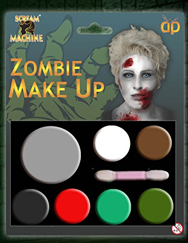 MAQUILLAGE HALLOWEEN MAQUILLAGE PEINTURE VISAGE ZOMBIE VAMPIRE SORCIÈRE CLOWN DEVIL FAMILY ENSEMBLE ROUGE BLANC NOIR - Zombie Maquillage, Taille Unique de Davies