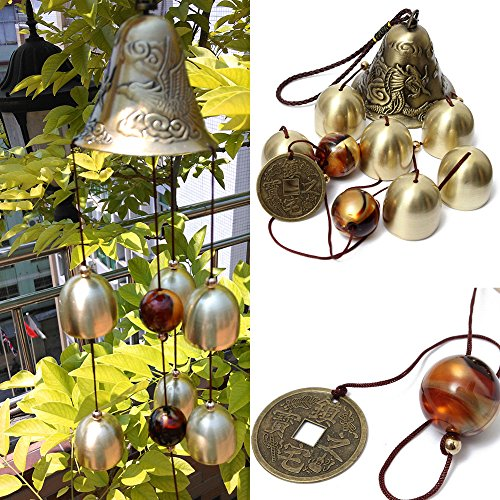 Sunfire Chimes Windbell Woodstock Bead Hanging Greco Home Outdoor Indoor Decoration 5 Bells Gragon Gift 15inch de SUNFIRE