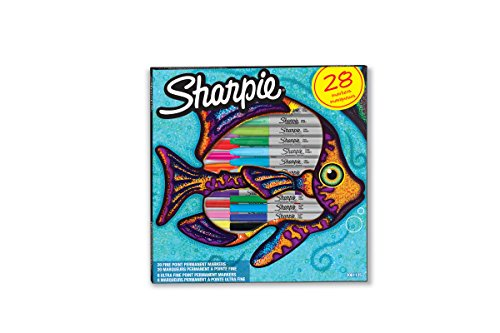 Sharpie 2061125 Pochette de 28 Marqueurs permanents, pointes fines/ultrafines Couleurs Assorties de SHARPIE