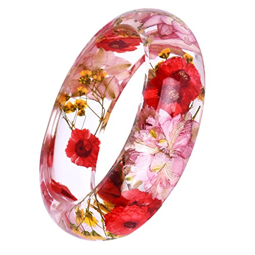 Sharplace 1pcs Fashion Lucite Bracelet Transparent Bangle Séché Fleur en Résine Époxy Multicolore de Sharplace