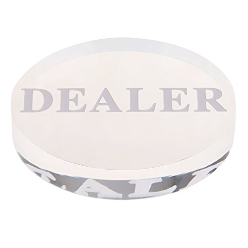 Sharplace Bouton Dealer Revendeur Poker en Acrylique Transparent 5.6CM pour Tables de Jeux de Sharplace