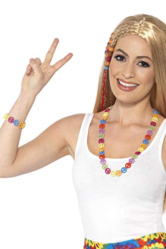 Smiffys 44660 Déguisement Femme Kit Symboles Peace And Love Hippie, Multicolore, Taille Unique de Smiffy's