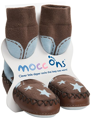 COWBOY BABY MOCCASINS-MOCC ONS LEATHER SOLED SHOES/SLIPPERS - blue/brown (12-18 mths) de Sock Ons