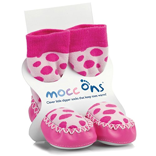 Sock Ons - Chausson chaussette Mocc'ons à pois rose (12-18 mois) - Rose de Sock Ons
