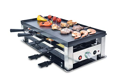 Solis Barbecue 5 en 1, Raclette/Gril/Barbecue Wok/crêpes/Pizza, 8 personnes, acier inoxydable, table table 5 en 1, type 790 de Solis