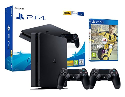 PS4 Slim 1To Console Playstation 4 Noir + FIFA 17 + 2 Manettes Dualshock PS4 V2 de Sony Interactive Entertainment