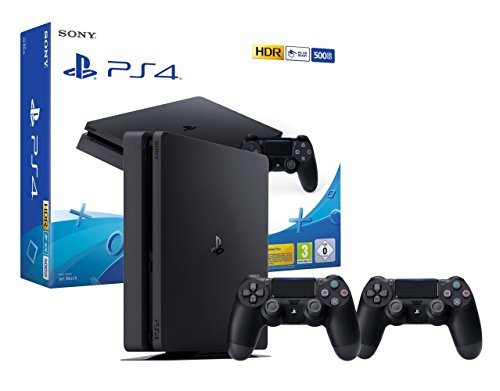PS4 Slim Console Playstation 4 Noir + 2 Manettes Dualshock PS4 V2 de Sony Interactive Entertainment