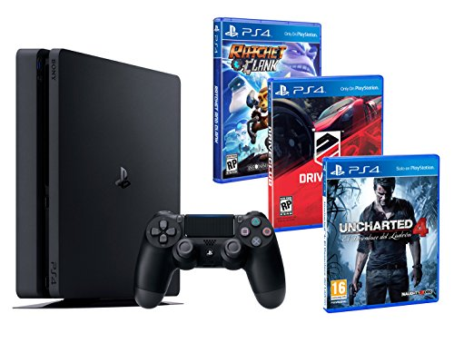 PS4 Slim 1To + 3 Jeux - Ratchet & Clank, Uncharted 4, Driveclub de Playstation