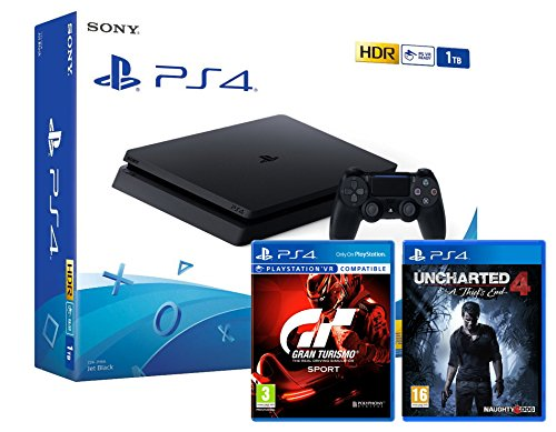 "PS4 Slim 1To Noir - Playstation 4 + Uncharted 4 : A Thief's End + Gran Turismo Sport ""GT Sport"" de Playstation"