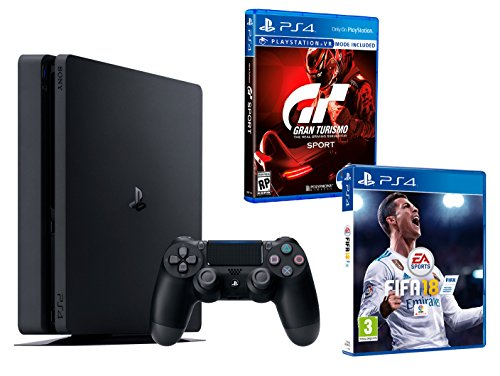 "PS4 Slim 1To Noir Playstation 4 - FIFA 18 + Gran Turismo Sport ""GT Sport"" de Playstation"