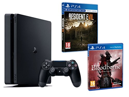 PS4 Slim 1To Noir Playstation 4 PACK 2 jeux - Bloodborne GOTY + Resident Evil VII de Playstation