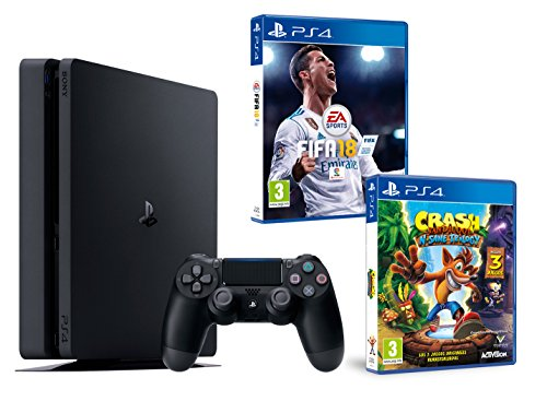 PS4 Slim 1To Noir Playstation 4 PACK 2 jeux! FIFA 18 + Crash Bandicoot N.Sane Trilogy de Playstation