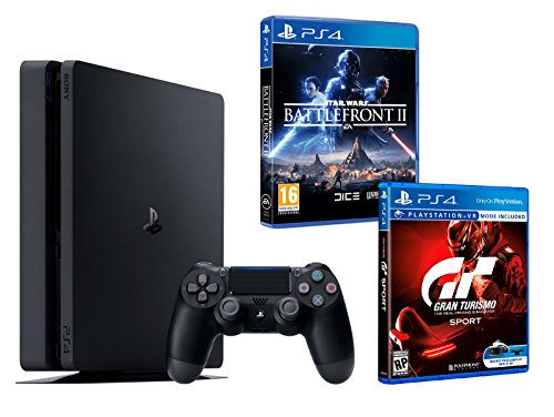 "PS4 Slim 1To Noir Playstation 4 PACK 2 jeux - Star Wars: Battlefront 2 + Gran Turismo Sport ""GT Sport"" de Playstation"