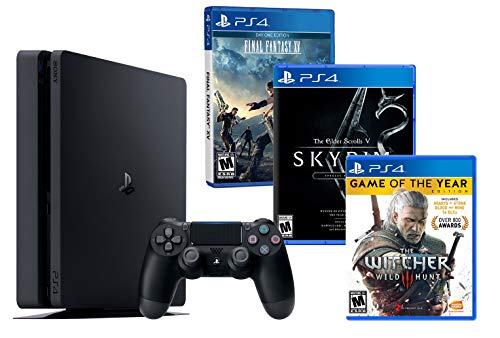 PS4 Slim 1To Noir Playstation 4 RPG Pack 3 Jeux! The Witcher 3 + Final Fantasy XV + The Elder Scrolls V: Skyrim Special Edition de Playstation