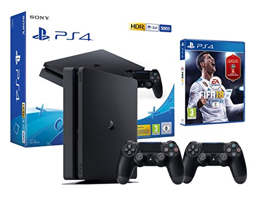 PS4 Slim 500Go Noir Playstation 4 - FIFA 18 + 2 Manettes Dualshock 4 de Playstation