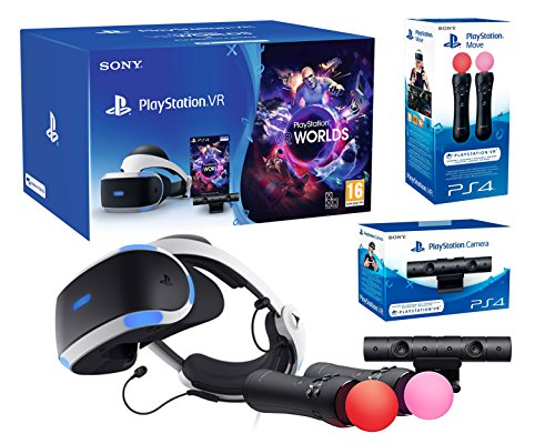 "PlayStation VR2 (CUH-ZVR2) ""Starter Plus Pack"" Camera V2 + VR Worlds + Paire Move Twin Controllers de Playstation"