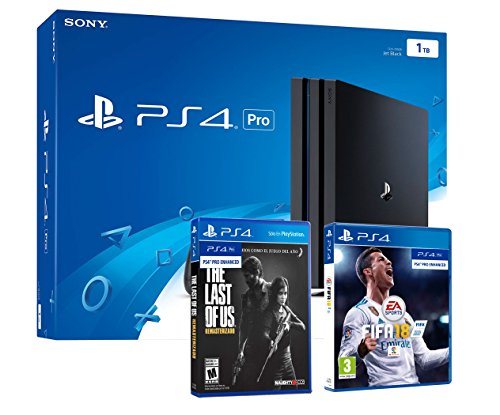 PS4 PRO 1To Playstation 4 PACK 2 jeux: FIFA 18 + The Last of Us Remastered HD de Sony