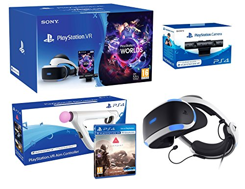 PlayStation VR + Farpoint + Aim-Controller PS4 + VR Worlds + PS4 Camera V2 - VR Pack de Playstation