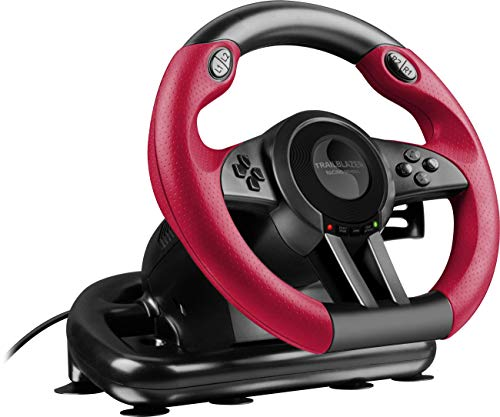 Speedlink TRAILBLAZER Racing Wheel for PS4/Xbox One/PS3/PC - Volant de Gaming (Vibration, 12 Boutons) Noir-Rouge de Speedlink