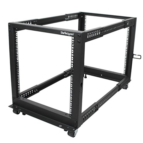 StarTech.com 12U Adjustable Depth Open Frame 4 Post Server Rack w/Casters/Levelers and Cable Management Hooks de StarTech.com