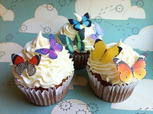 Edible Butterflies Ã'© - Small Assorted Set of 24 - Cake and Cupcake Toppers, Decoration by Sugar Robot Inc. de Sugar Robot Inc.