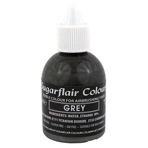 Sugarflair - AIRBRUSHING FOOD COULEUR - aérographe comestible colorant liquide (gris) de Sugarflair