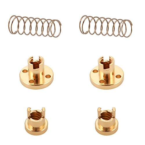 2pcs T8 2mm Lead Anti Backlash Spring Loaded Brass Nut for 2mm Acme Threaded Rod Screws 3D Printer de Sun3Drucker