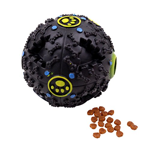 Supshark Pet Feeding Toys Chien Creative Formation Vocal Puzzle Bite Jouets Naturel En Caoutchouc Jouet Ball Morsure Résistant Pet Exercice Jeu Ball, Mâcher Entraînement De Dents De Nettoyage Balle (M, Noir) de Supshark