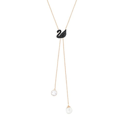 Swarovski Collier Iconic Swan Double Y, noir, plaqué or rose de Swarovski