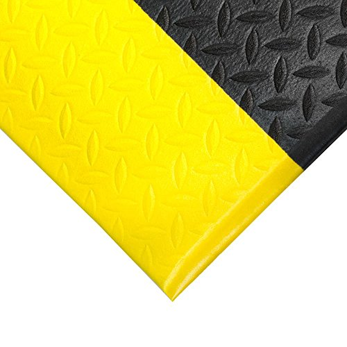 TAP 0003070 Tapis antifatigue, relief diamant, 0,9 m x 1, 83 m, Noir/Jaune de TAP