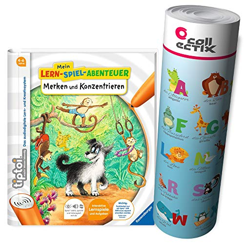 TipToi Ravensburger Book Notes and Focus On My Learning Game Adventure + ABC Letters Poster with Animals, Tip Toi, School, Numbers de TIPTOI