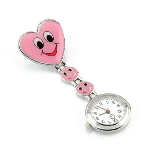 Montre Infirmière Rose Mouvement à Quartz Forme Coeur Attache Epingle de TOOGOO(R)