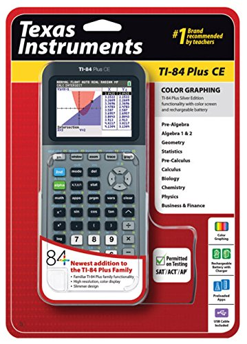 Texas Instruments TI-84 Plus CE Silver Graphing Calculator by Texas Instruments de Texas Instruments