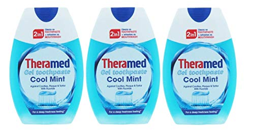 NEW 3 X THERAMED 2 IN 1 TOOTHPASTE & MOUTHWASH COOL MINT 75ML - TRAVEL DENTAL CARE by Theramed de Theramed