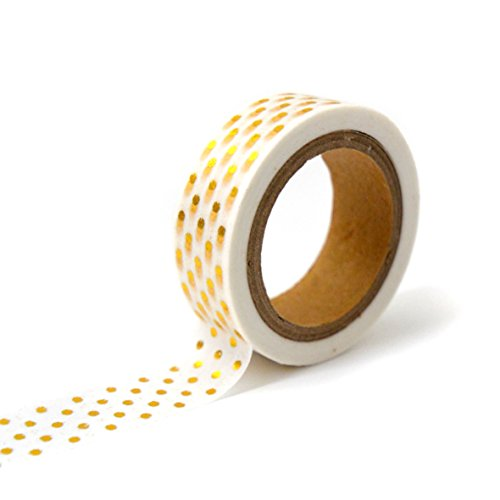Toga MT104 Ruban de Masquage Pois Washi Tape Or/Blanc 4 x 9 x 5 cm de Toga